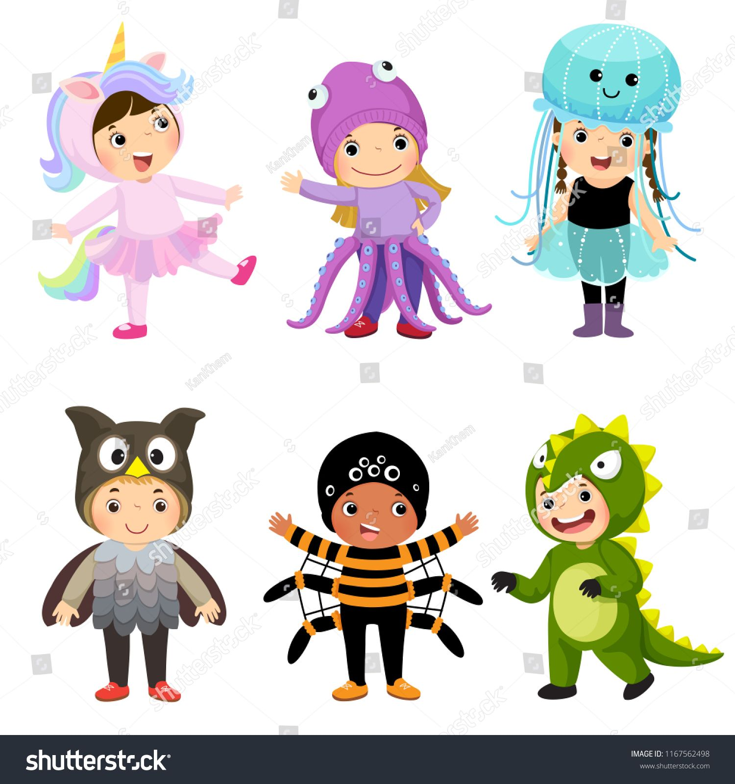Vector Cartoon Of Cute Kids In Animal Costumes Set Carnival Clothes For Children Ad Affiliate Kids Animal Cute V Cute Kids Animal Costumes Kids Clipart