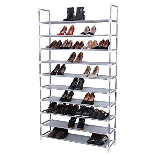 Wonderful Songmics 10 Tiers Shoe Rack 50 Pairs Non Woven Fabric Shoe Tower Storage  Organizer Cabinet Ideas