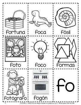 Posters Y Tarjetas De Silabas Iniciales En Palabras Con F En Espanol Kids Learning Activities Learning A Second Language Spanish Handouts