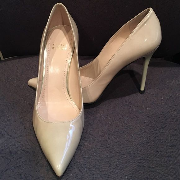 Stuart Weitzman heels Nouveau  beige size 8. Excellent condition-- worn once.   Cost $395 new.  My daughter bought these too small. Very minor flaw on left toe-- see picture. Stuart Weitzman Shoes Heels