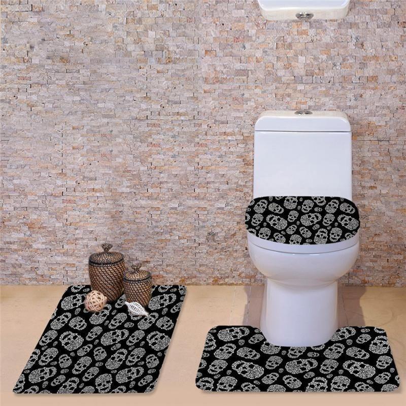Cartoon Skull Toilet Seat Cover And Bathroom Rug Set Skullflow