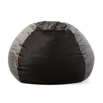 Big Joe Kushi Bean Bag Chair Upholstery: Jet Black/Charcoal Gray   Http: