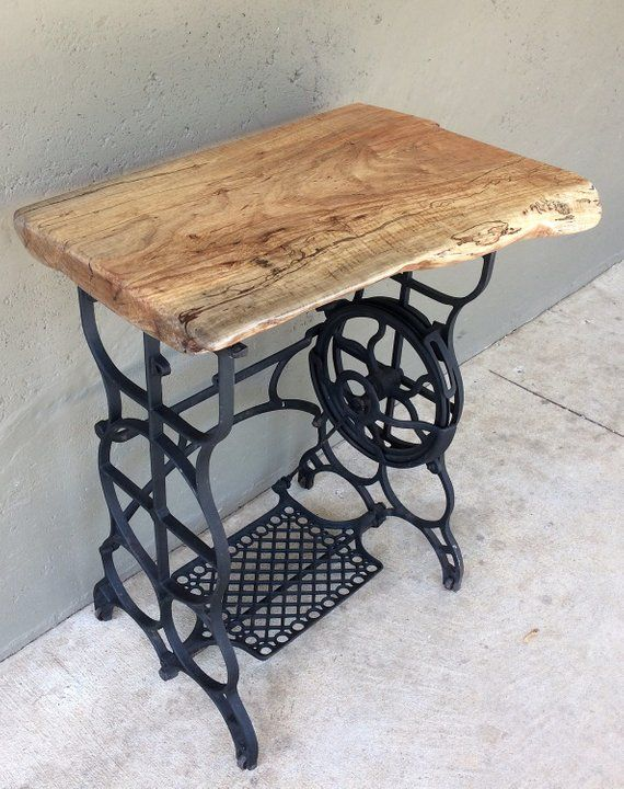 Rustic Side Table With Cast Iron Legs Old Sewing Machine Stand Sewing Table Old Sewing Machine Table Rustic Side Table