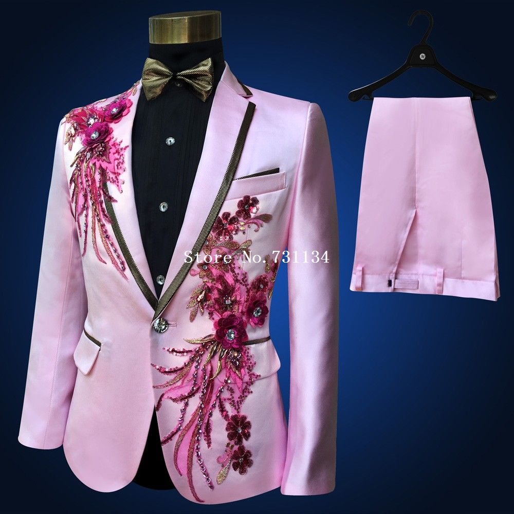 7f6368c8af3 Brand New Fashion Men Wedding Groom Tuxedos Suit Pink Sequins Men s  Bridegroom Blazer   Suits Halloween Costumes-in Suits from Men s Clothing    Accessories ...