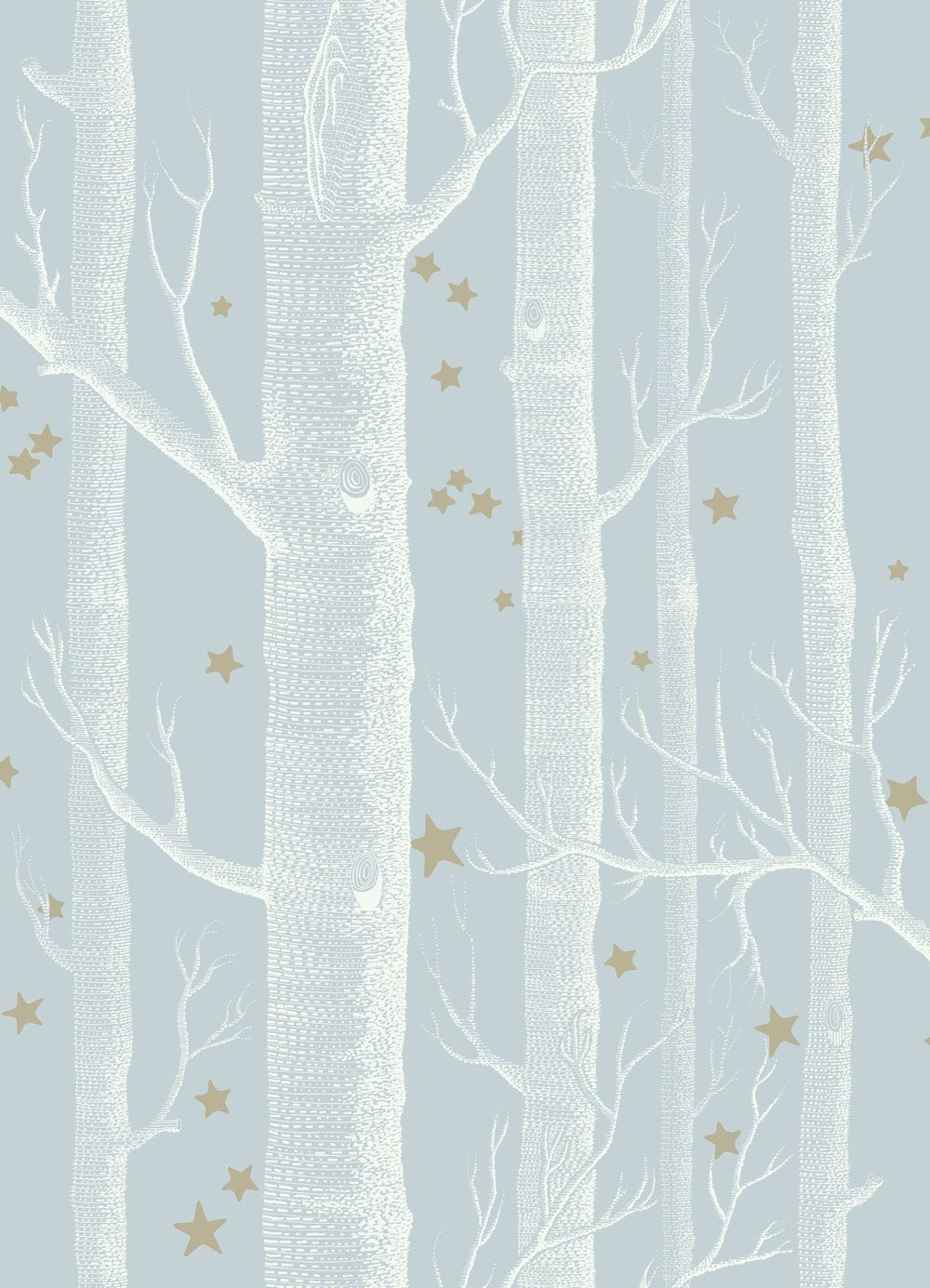 White curtain wallpaper - Woods And Stars Powder Blue Wallpaper By Cole Son