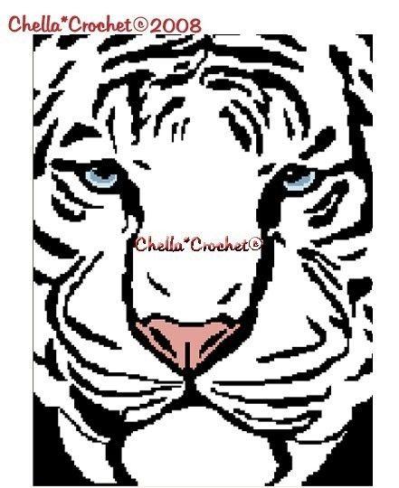 INSTANT DOWNLOAD Chella Crochet Syberian White Tiger Face
