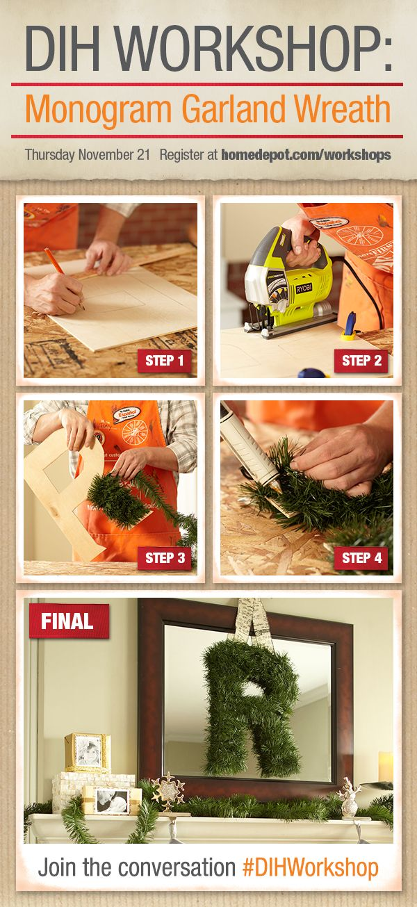 Learn to make a monogrammed wreath at our free dihworkshop on thu learn to make a monogrammed wreath at our free dihworkshop on thu nov 21 2013 from 630 pm 0800 pm power up your holiday make create give with solutioingenieria Images