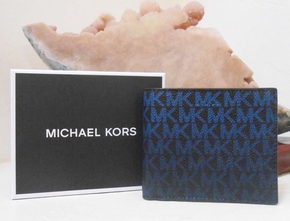 ad46bc4d30bb NWT MICHAEL KORS Men s Jet Set Logo Billfold Wallet Leather RFID Gift Box  NEW