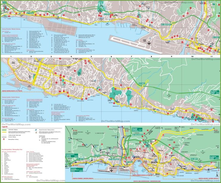 Large Detailed Map Of Italy.Large Detailed Tourist Map Of Genoa Interesting Maps Of Italy