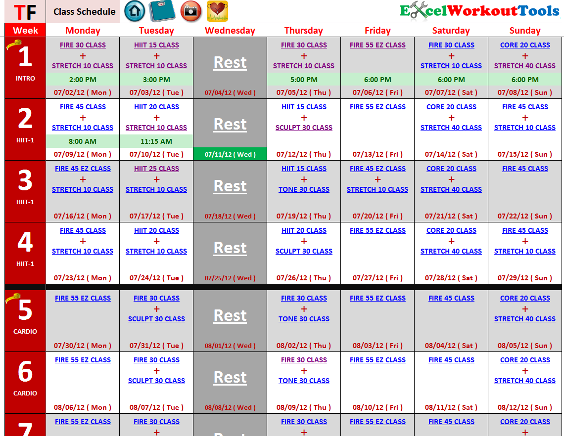Turbo Fire Class Schedule | TurboFire « Excel Workout ...