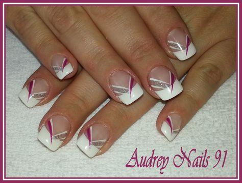 french blanche liner blanc rose et argent nail art pinterest ongles manucure et onglerie. Black Bedroom Furniture Sets. Home Design Ideas