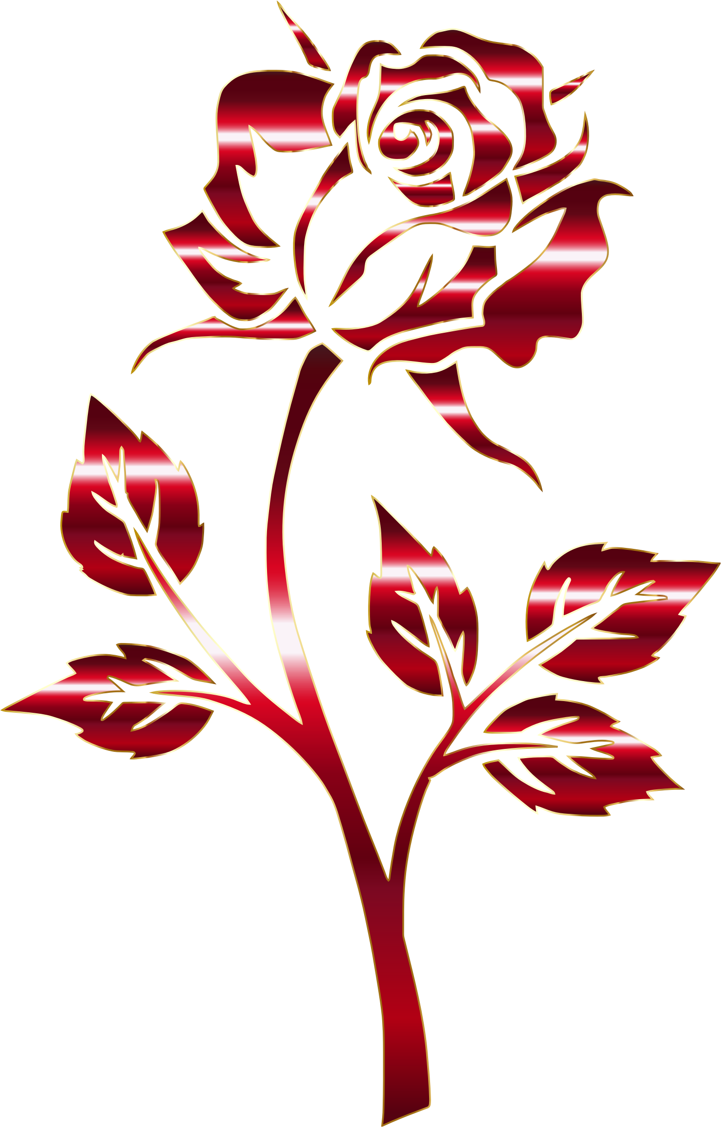 Crimson Rose Silhouette Variation 2 No Background (With ...