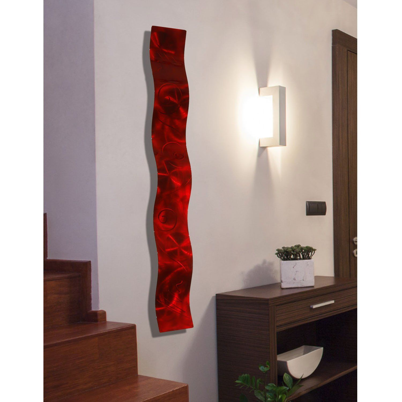 Red d abstract metal wall art sculpture wave modern home décor by