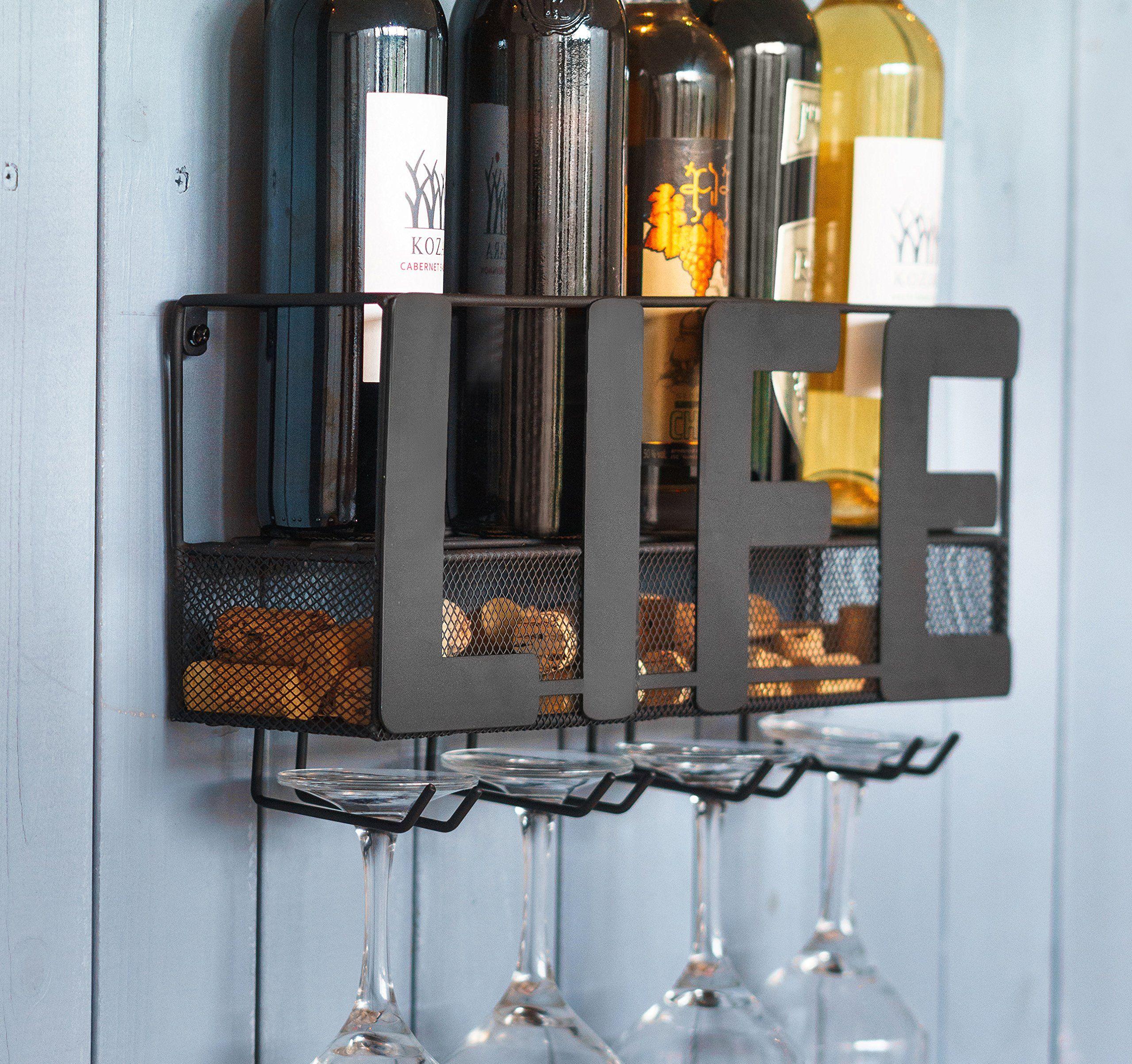 Wall Mount Metal Wine Rack Storage