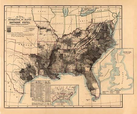 Slave Map of the Southern States of the US in about 1861 | Abraham ...