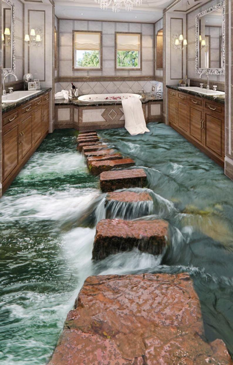 3D Stone Road Lake 0530 Floor Wallpaper Murals Self-Adhesive Removable Kitchen Bath Floor Waterproof floor Rug Mat Print Epoxy YOYO