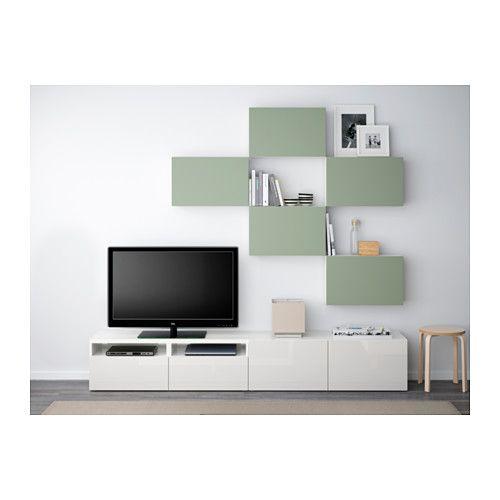 Aufbewahrungssystem Ikea bestå tv meubel combi lappviken groen wit laderail