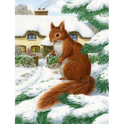 Caroline's Treasures Red Squirrel And Cottage Vertical Flag