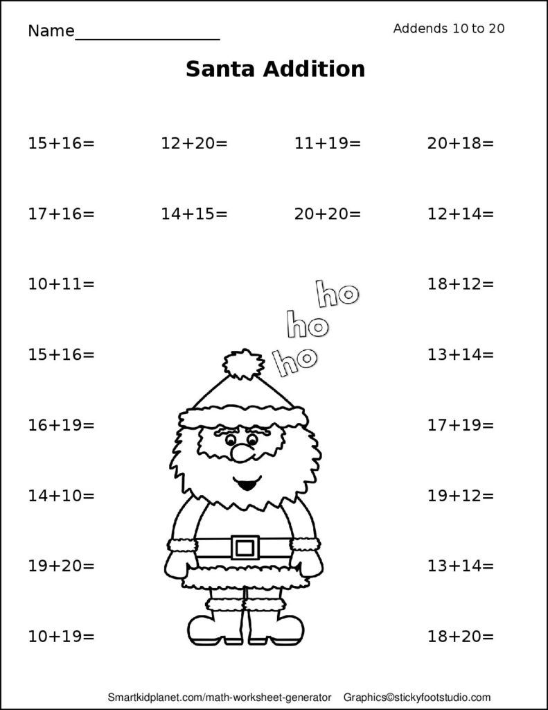 Santa Addition (Addends 1020 Christmas addition