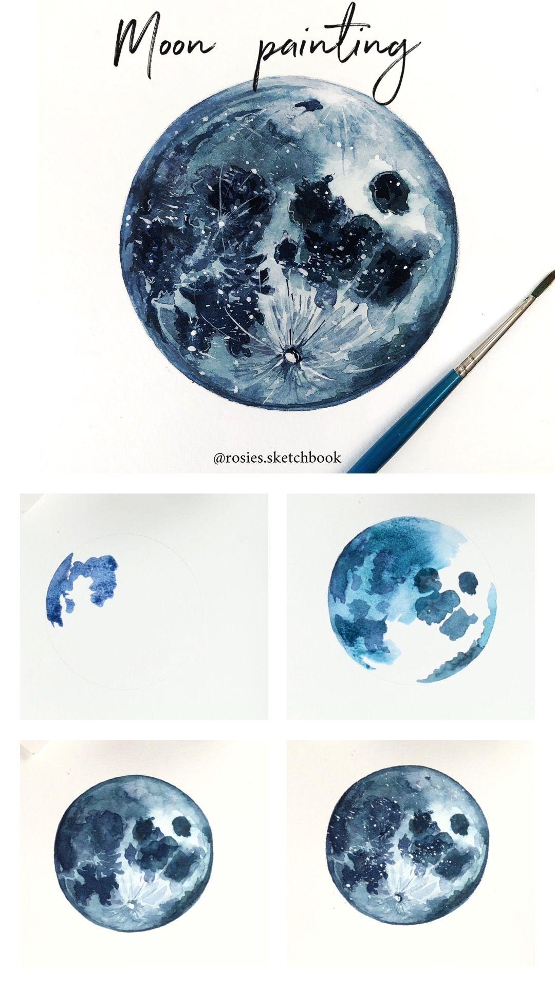 Moon Painting Tutorial Moon Painting Painting Tutorial Watercolor Moon