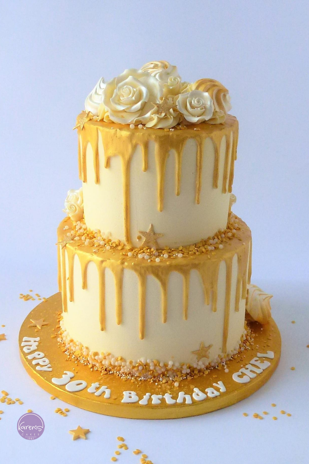 2 Tier White Chocolate With Gold Drip Scandalous Karen S Cakes Golden Birthday Cakes Cake Butterscotch Cake