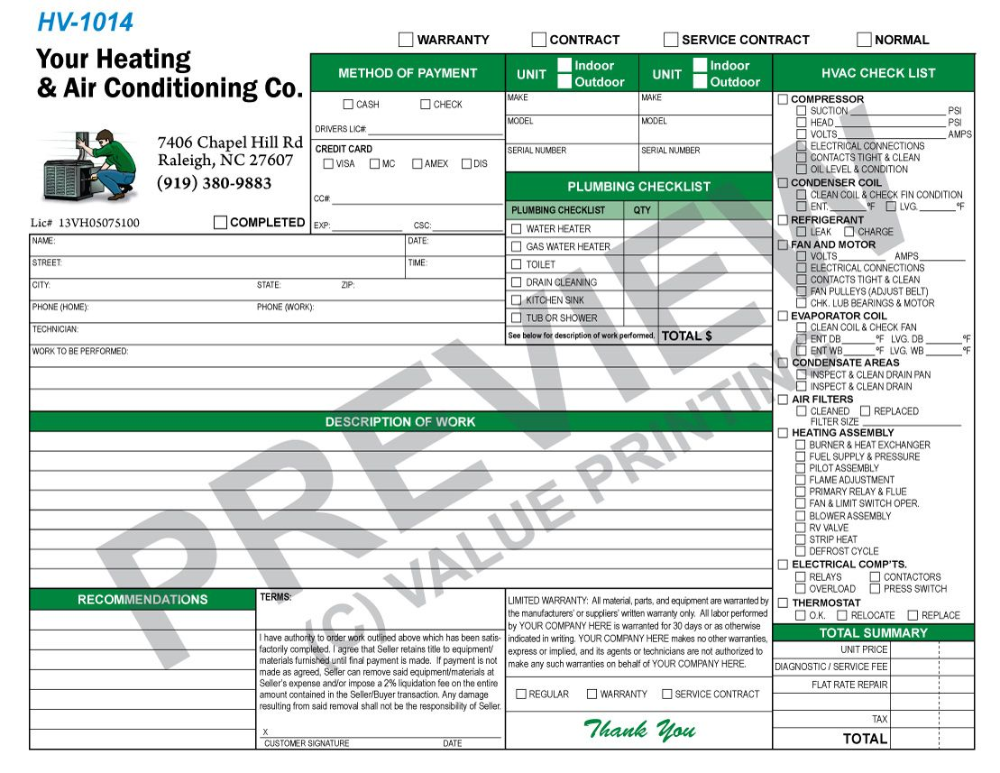 this is a plumbing checklist combined with a standard hvac