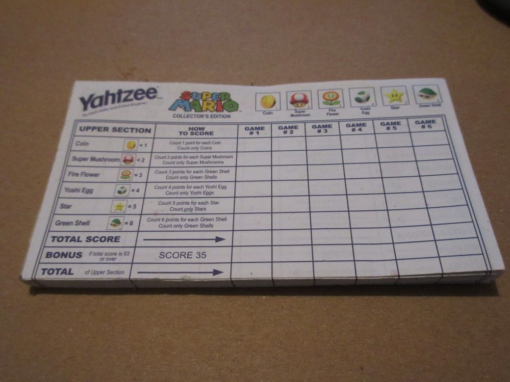 Mario CollectorS Edition Yahtzee Score Pad Replacement Tally Sheets