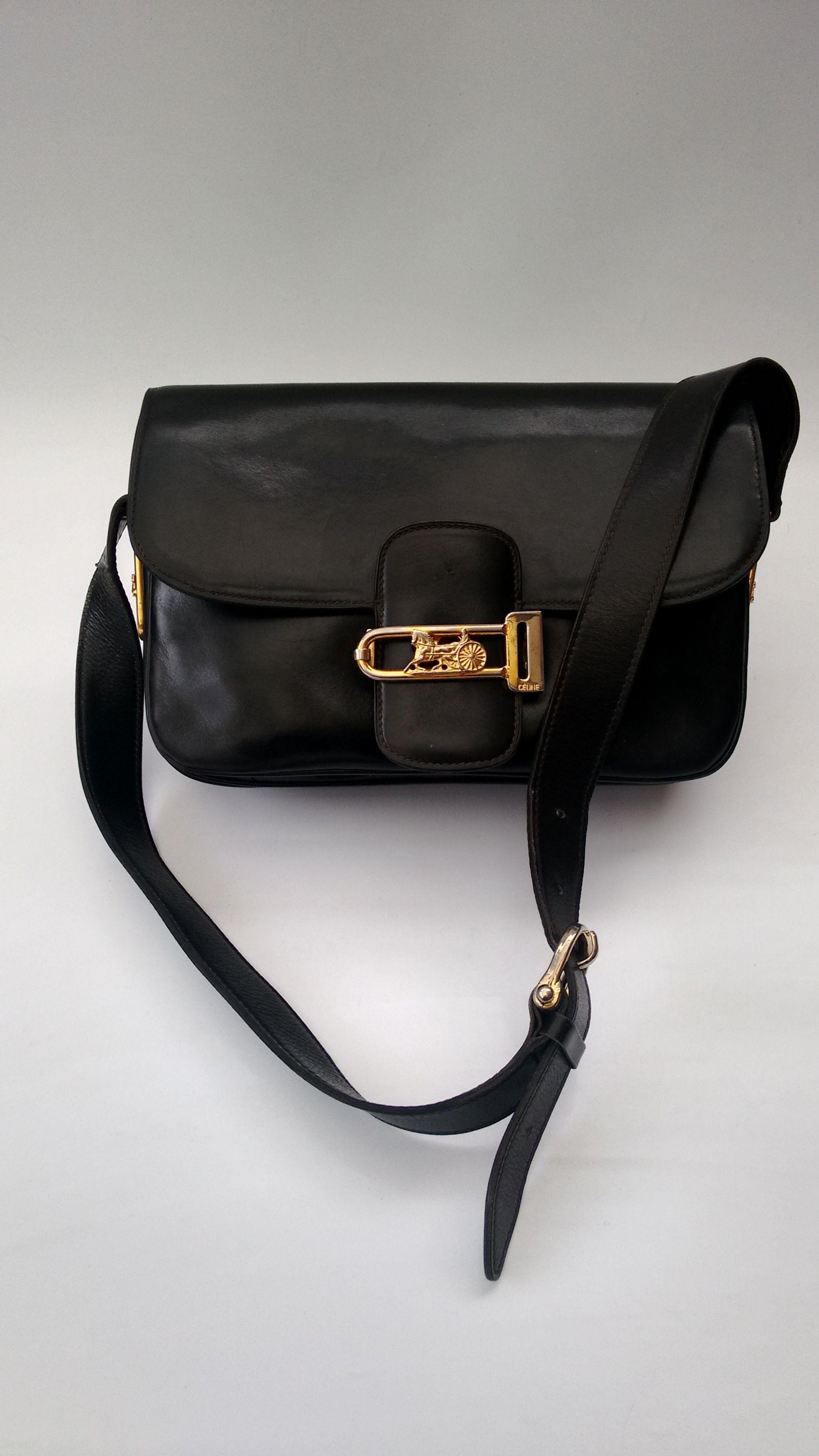 CELINE Bag. Céline Vintage Black Leather Box Horse Carriage bag Bag. French  designer purse. a93ad446d045b