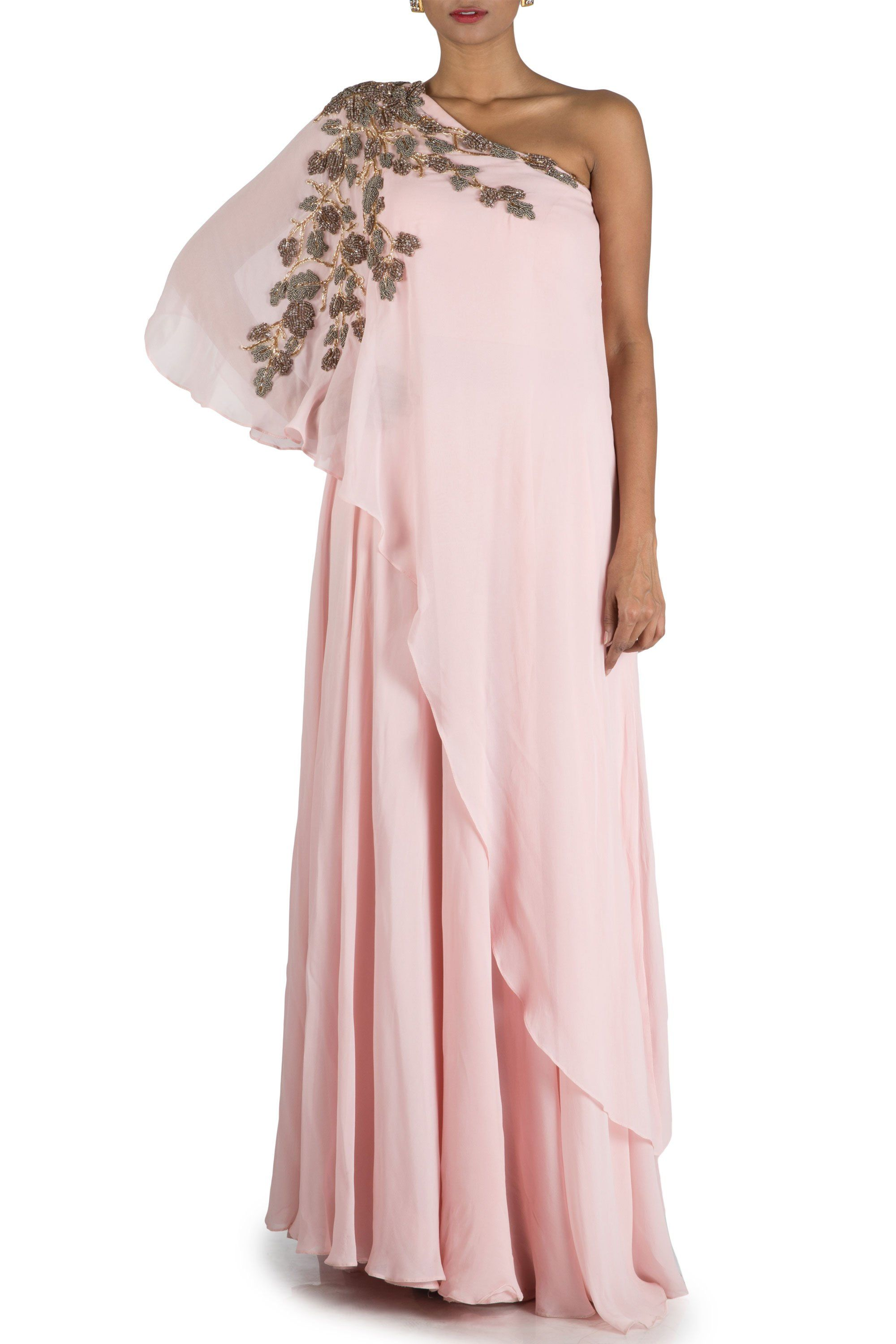 8c8328ac9e7 Powder Pink One sided Off Shoulder Cape Gown in 2019