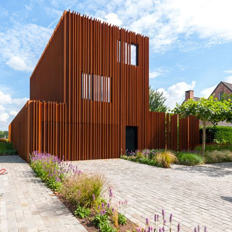 The corten house by dmoa architecten is surrounded by - Interior and exterior design definition ...