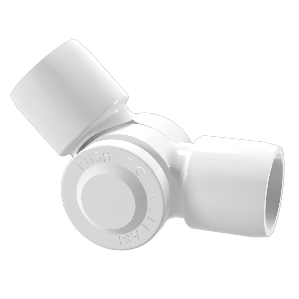 Formufit 3 4 In Furniture Grade Pvc External 2 Way Adjustable Fitting In White 2 Pack F034aex Wh 2 The Home Depot Furniture Grade Pvc Pvc Fittings Pvc