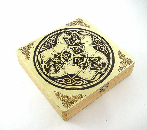 Trinity Celtic Jewelry Box Wood Pyrography 3 Horses Trinket Box