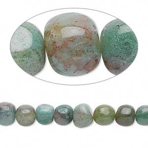"Bead, African ""jade"" (natural), small pebble, Mohs hardness 6 to 7-1/2. Sold per 16-inch strand."