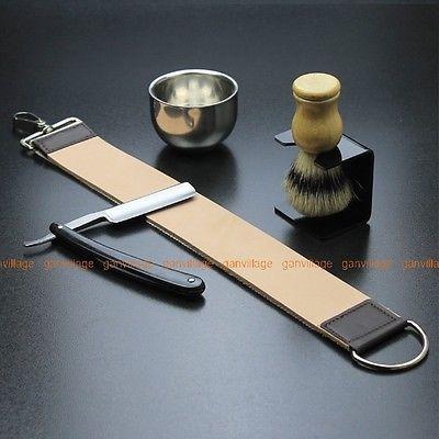 Gold Dollar 66 Straight Razor + Brush + Brush Stand + Bowl + Leather Strop Strap in Collectibles,Vanity, Perfume & Shaving,Shaving | eBay