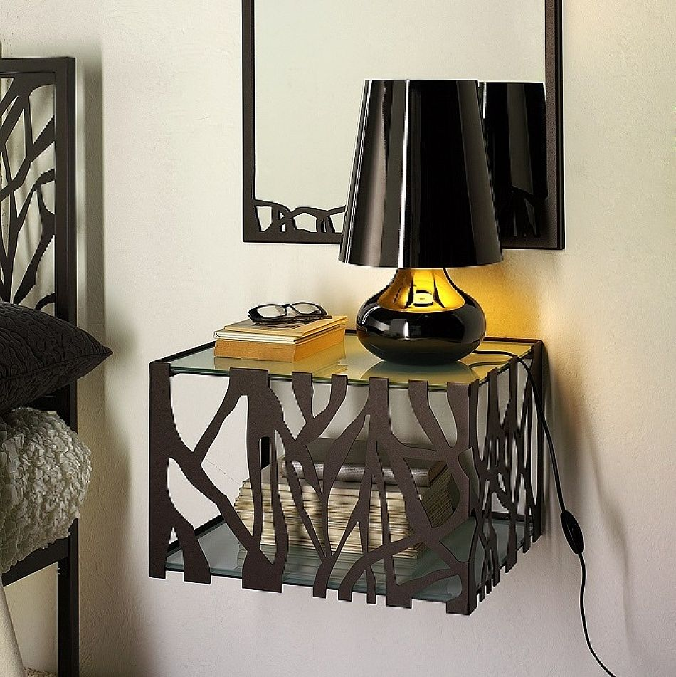 Modern metal wall mounted bedside, lamp table Green by