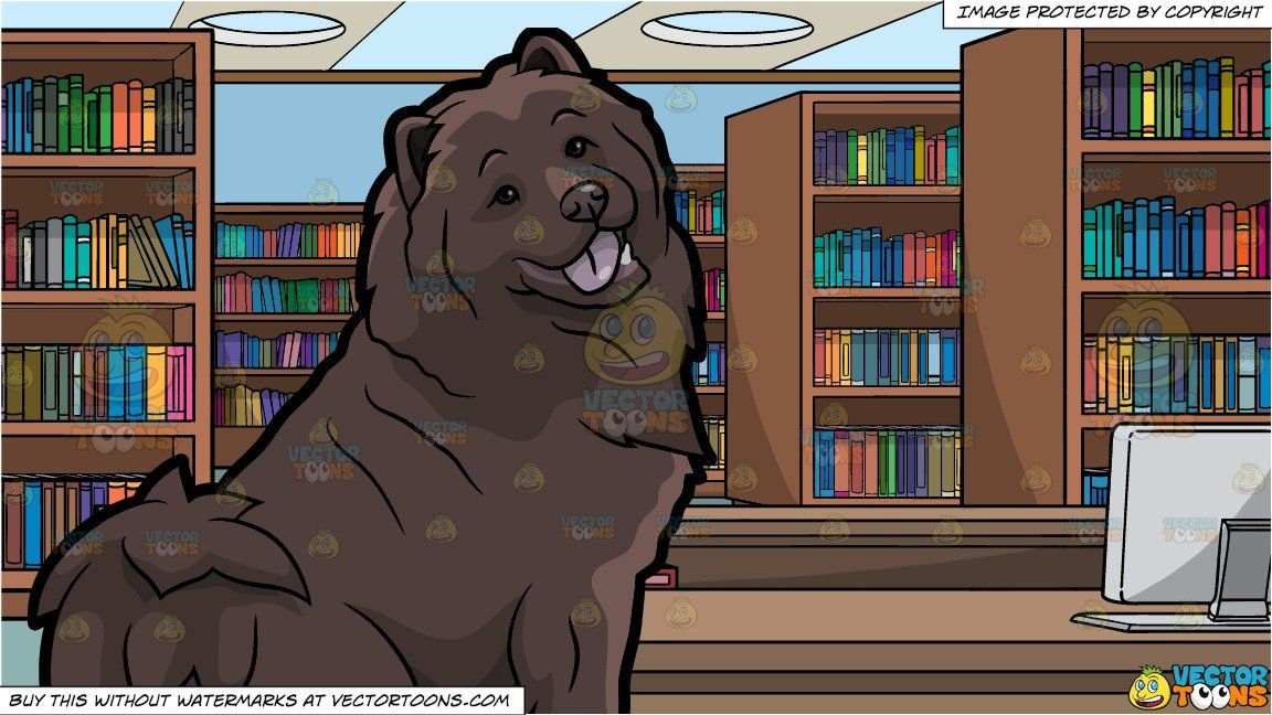 Clipart Cartoon A Pretty Chocolate Brown Chow Chow Dog And