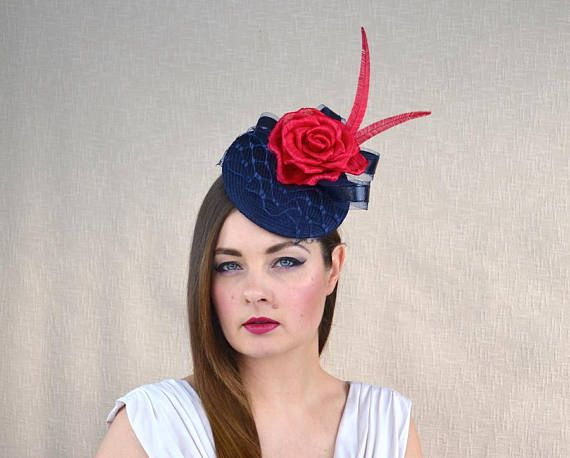 Navy Blue Pillbox Hat with Veil and Red Silk Abaca Rose - Blue and Red  Fascinator - Mother of the B f171e002879
