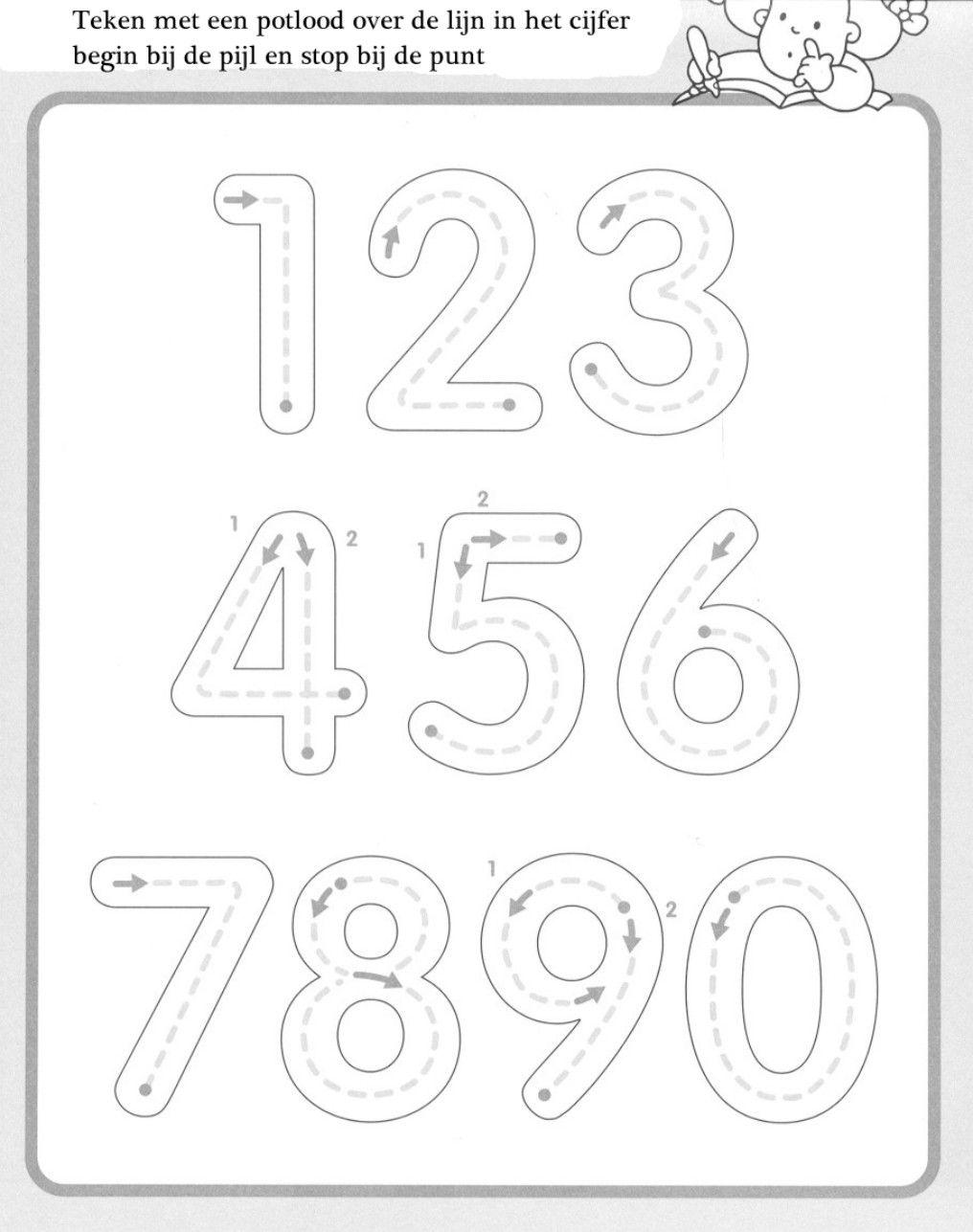 Hedendaags getallen schrijfblad | Voorschools rekenen, Kinderen schrijven IA-52