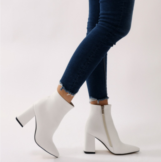 c9468ffab5 Empire Pointed Toe Ankle Boots in White in 2019 | things I want ...