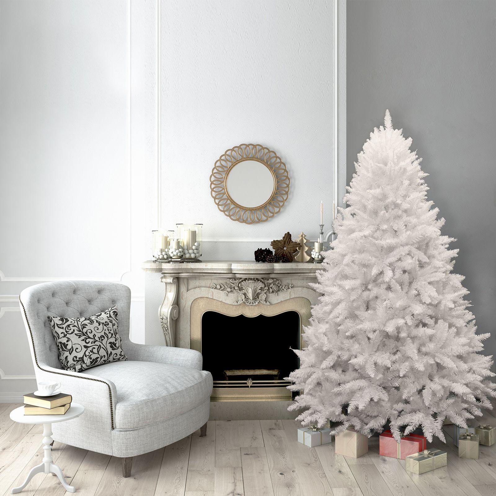 7ft Christmas Tree White Bavarian Premium Pine Hinged 1750