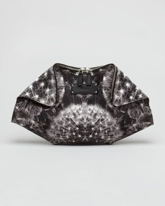 Dandelion-Printed Leather De-Manta Clutch by Alexander McQueen