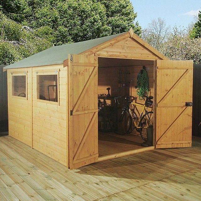 10 X 6 3 12m X 1 96m Mercia Premium Shiplap Shed With Double Doors Pressure Treated Shiplap Sheds Shed Double Doors