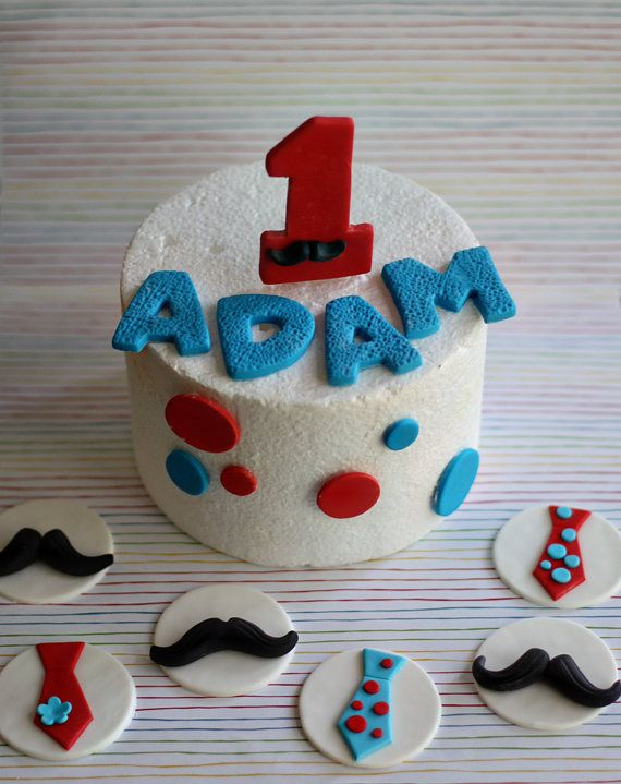 Fondant Mustache Age Polka Dot and Name Cake Decorations Plus