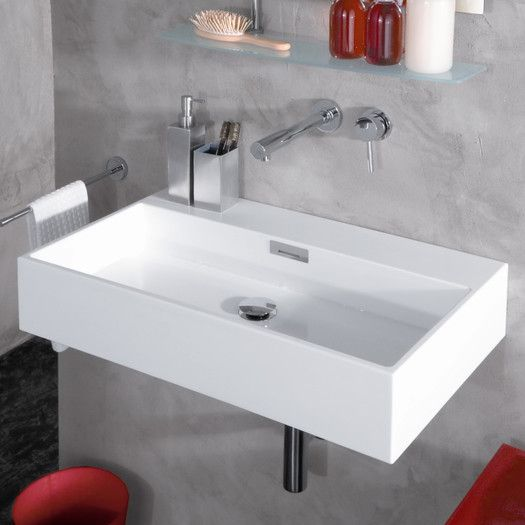 Quarelo Ceramic 20 Wall Mount Bathroom Sink With Overflow Wall