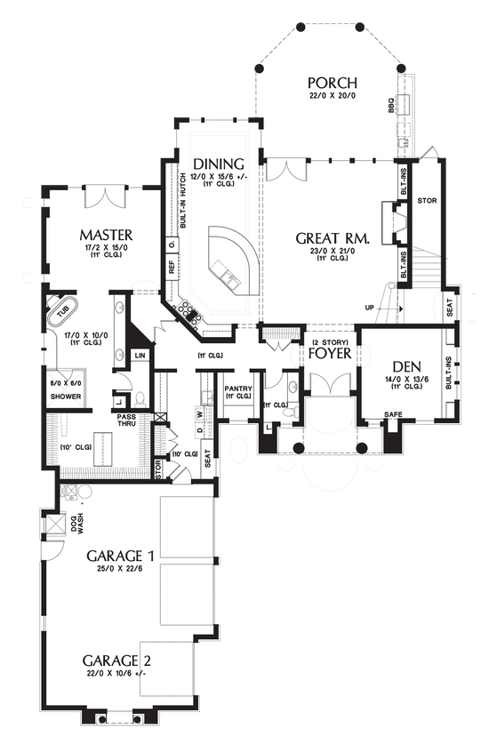 Main floor plan of mascord plan 2478 the octavia north for Mascord plans