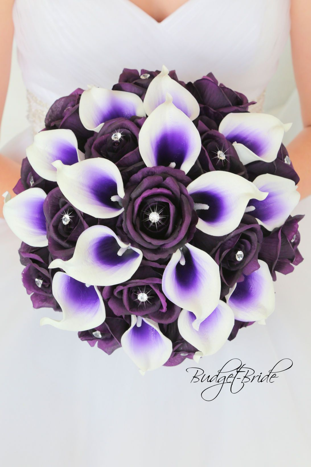 Regency Davids Bridal flowers with purple halo calla lilies, plum ...