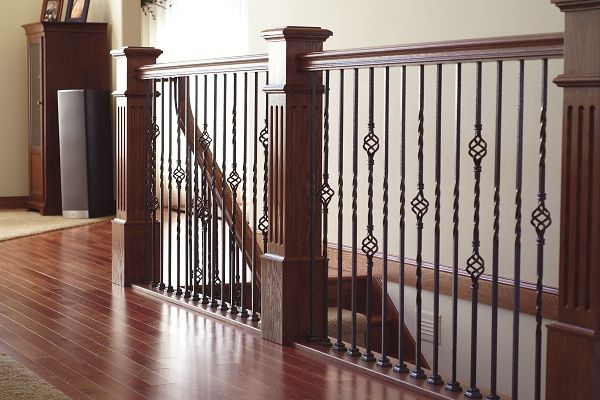 Best Stair Systems Fluted Newel Posts With Wrought Iron 400 x 300