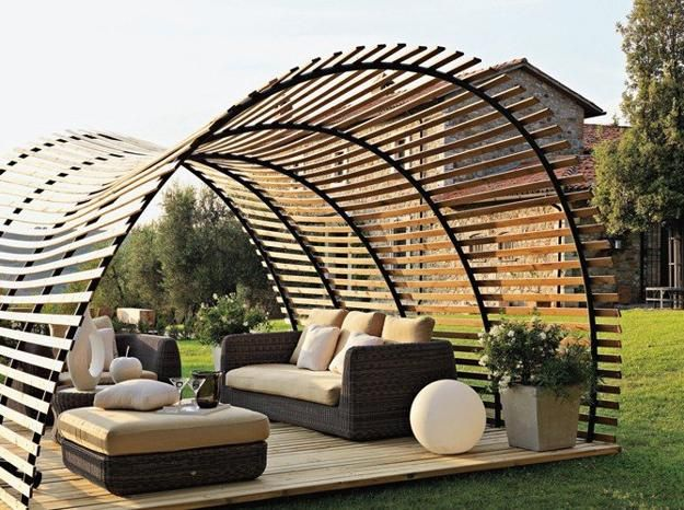 Long-term solution for sunshade, beautiful wooden structure and stone patio  ideas - 25 Sunshades And Patio Ideas Turning Backyard Designs Into Summer