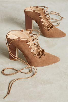 anthropologie billy ella ankletie metallic heels https