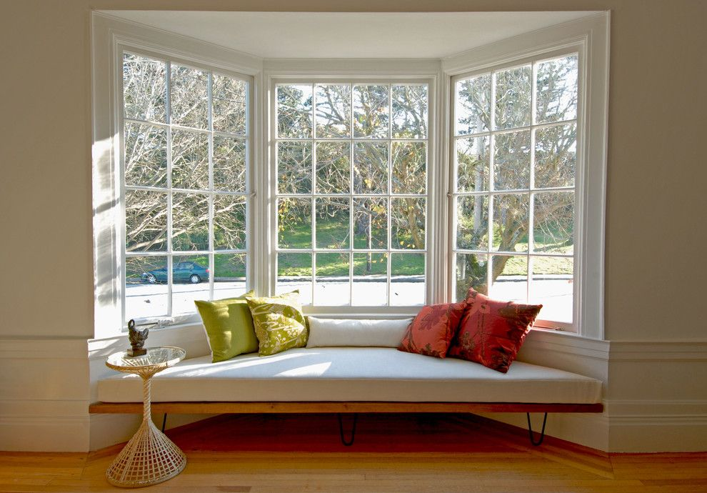 bay window bench Living Room Midcentury with accent table ...
